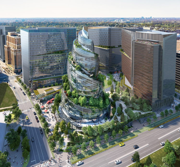 Архитектурная фирма NBBJ представляет спиральную стеклянную башню